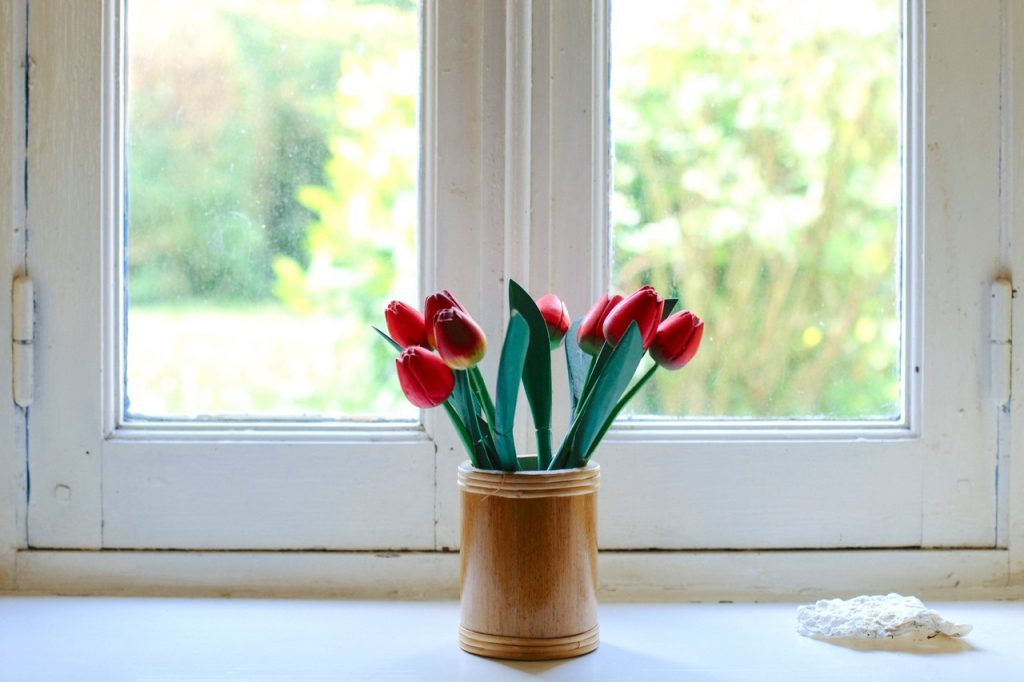 open window with flowers