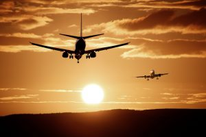 Airplanes landing and taking off
