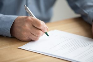 Estate executor completing paperwork