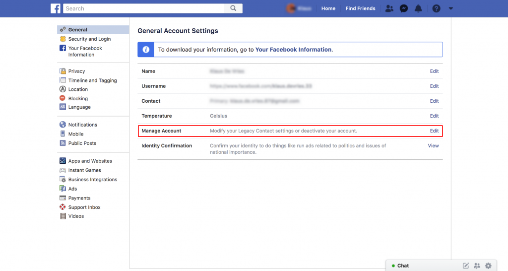 how to set up facebook legacy contact