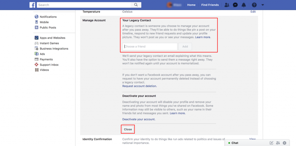 how to setup facebook legacy contact