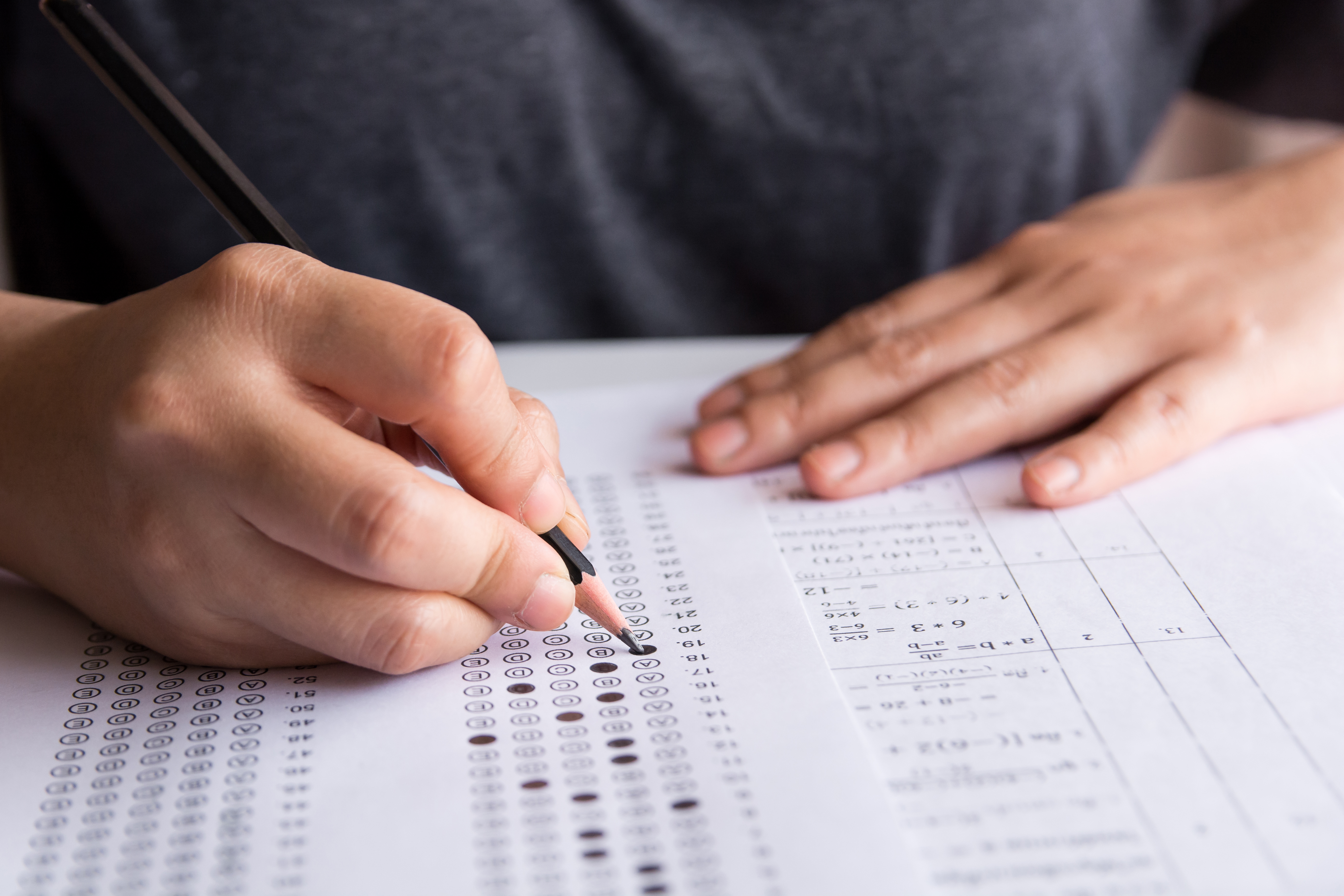 person completing a test
